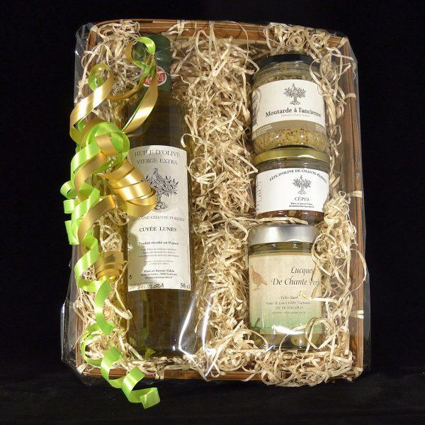 Coffret cadeau : huile d'olive, olives Lucques, moutarde et tapenade aux cèpes
